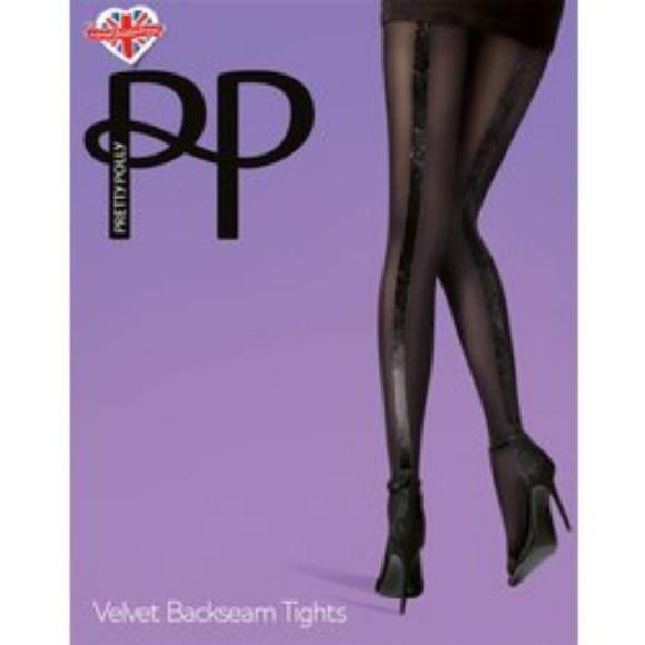 ba4d5580d PRETTY POLLY VELVET BACKSEAM TIGHTS BLACK S M